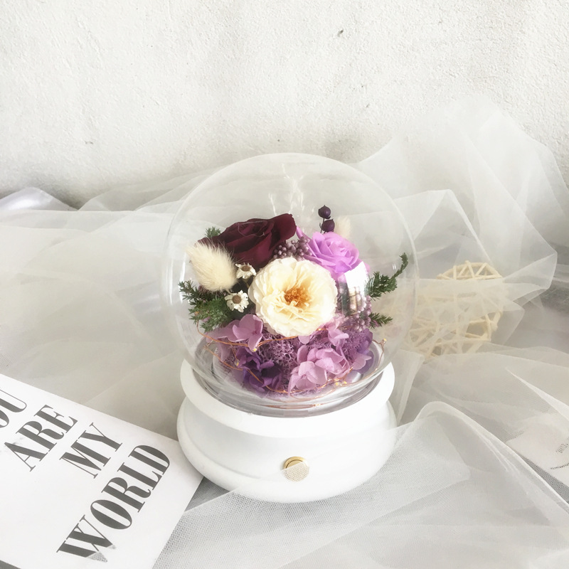 Preserved Roses Flower under round glass dome bluetooth speaker for gift craft and valentines gift