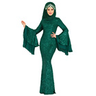 Abaya Beautifully Turkish Sequin Evening Muslim Dress Mermaid Islamic Clothing Plus Size