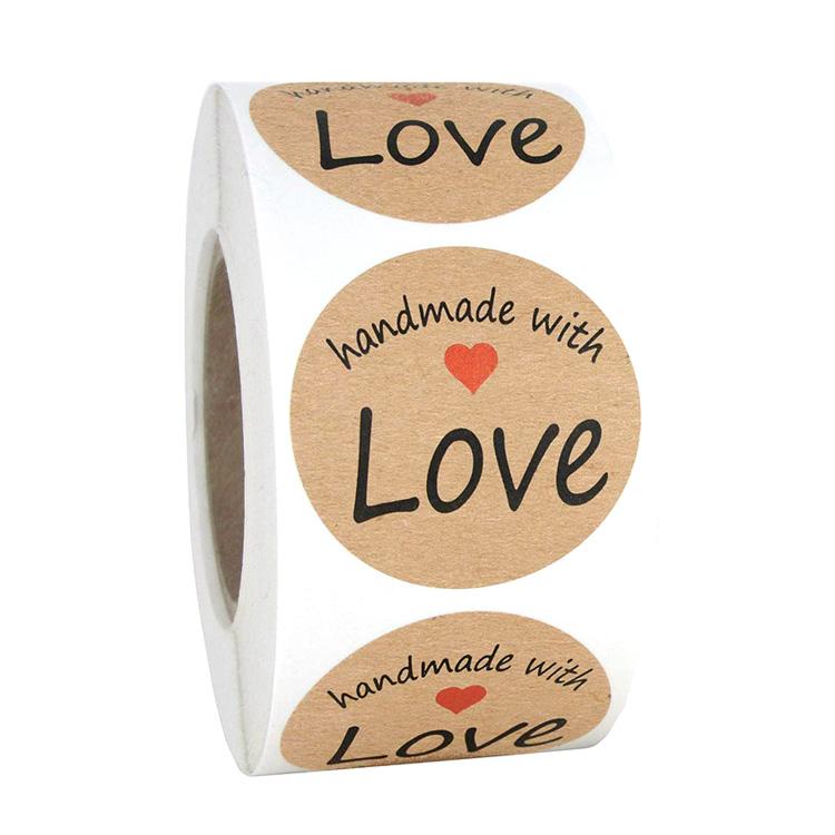 1.5 Polegadas Rodada Pacote Etiquetas do Selo Adesivo de Papel Kraft Obrigado Etiquetas do Amor com 500 pcs Por Rolo