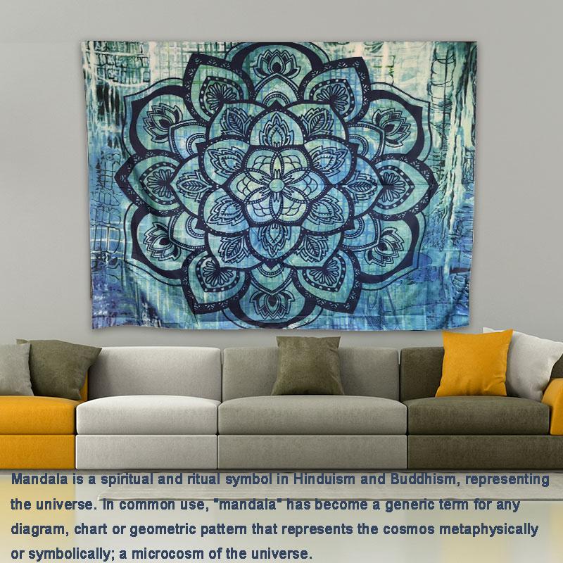 อินเดีย Mandala แขวนผนังชายหาดโยนพรมผ้าห่ม Camping เต็นท์ที่นอน Bohemian Sleeping Pad Tapestry