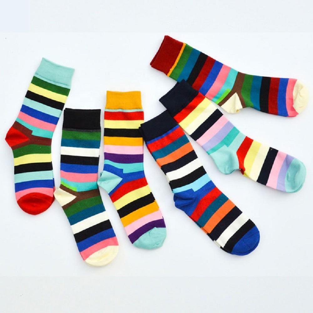Hot Sales Striped Vivid Color Fancy Socks