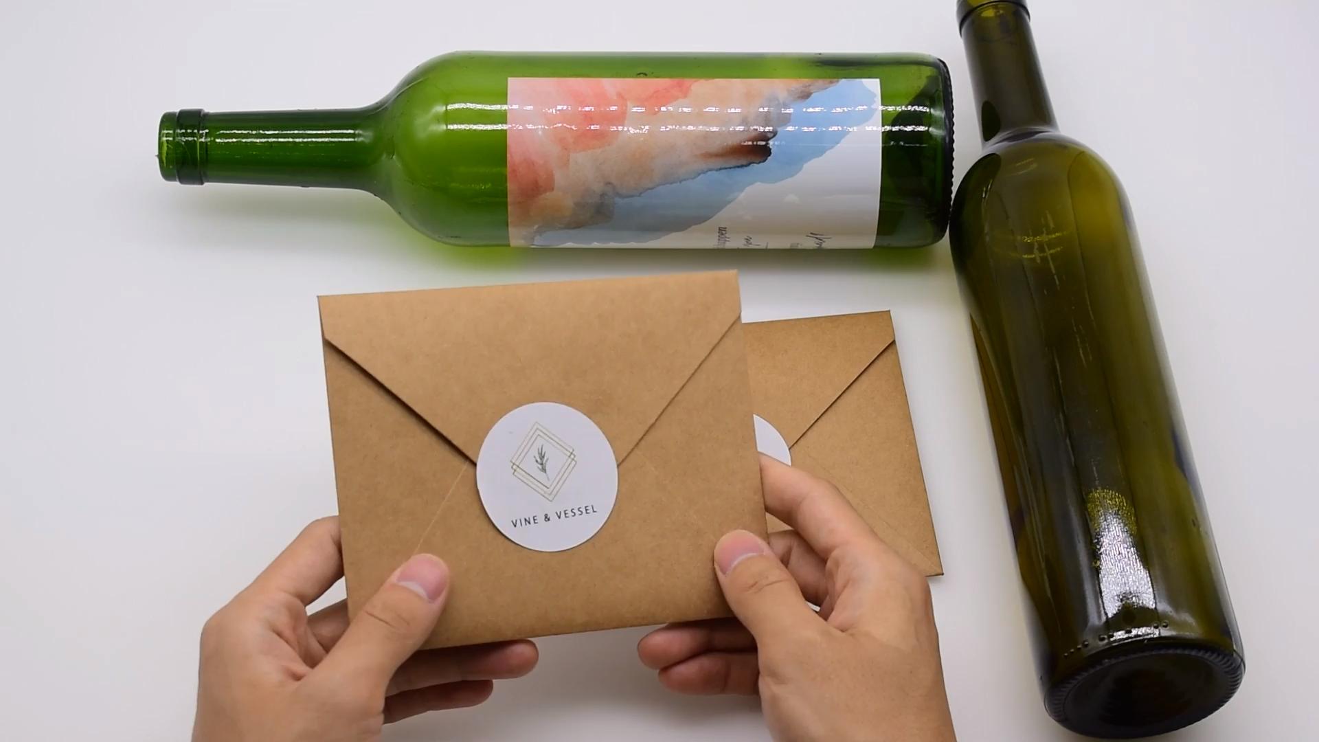 Étiquettes autocollantes de bouteille de vin, Logo de marque personnalisé en relief, métal, or, rouge, 500 pièces