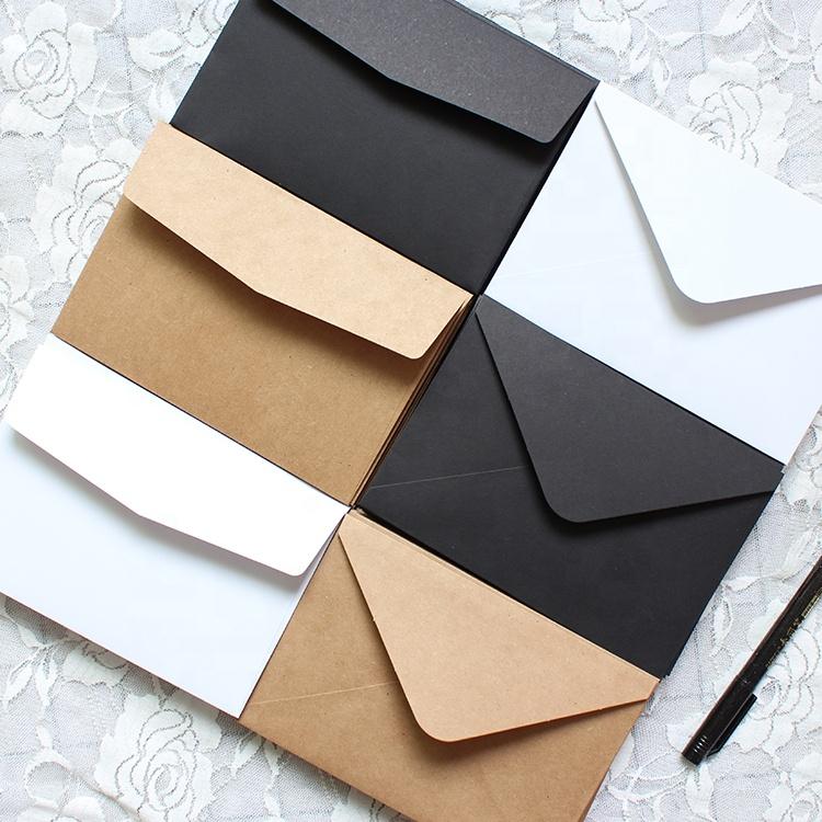 Custom printing mini packaging black brown kraft paper envelope