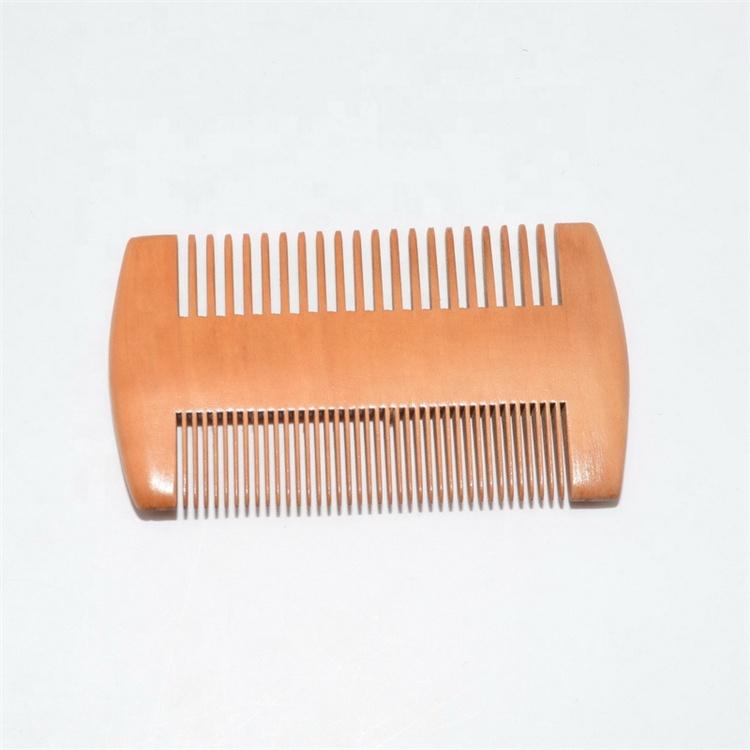 Ücretsiz örnek çin özel ahşap bıyık biti saç sakal tarağı toptan bambu ahşap tarak