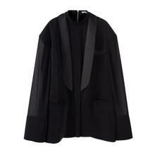 Женский сетчатый Блейзер EAM, свободный пиджак с воротником-стойкой и длинным рукавом, весна-осень 2020, 1T615, большие размеры(Китай)