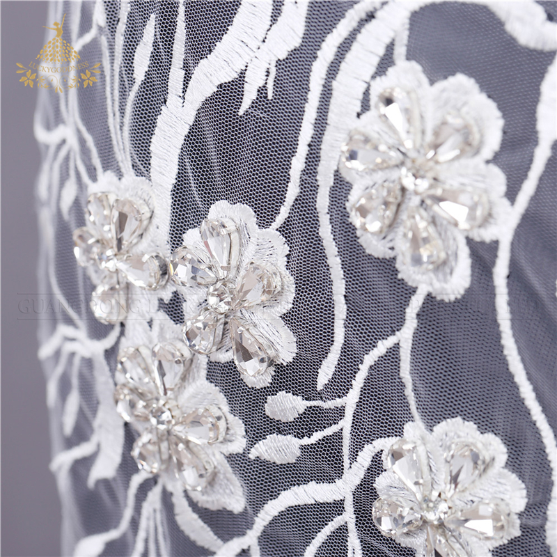 Factory wholesale beaded bridal sequin sash hotfix rhinestone bodice crystal applique