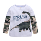 Hotsales Boys 100% Cotton Dinosaur Print Tops Kids Camouflage Long Sleeves Casual False 2pcs T-Shirts For Little Children