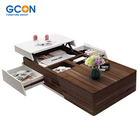 Hotsales modern fashion color blocking large space wooden table folding coffee table for living room