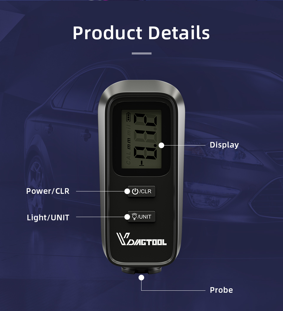 Car Paint Thickness Tester VDIAGTOOL VC-100 Digital Backlight LCD Film Thickness Meter Coating Thickness