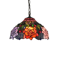 30CM American style rural retro Rose Restaurant Bar tea house coffee shop lamp Tiffany stained glass Old nostalgia pendent lamp