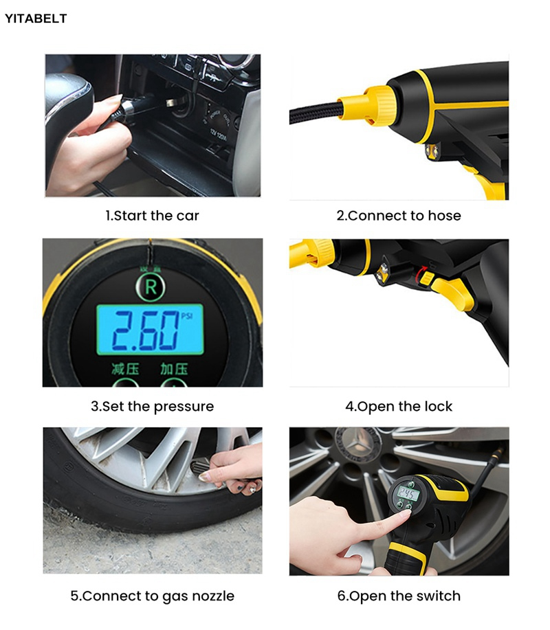 Car Air Compressor Handheld Tire 60s Inflator Digital Inflatable Pump Pressure Gauge Car