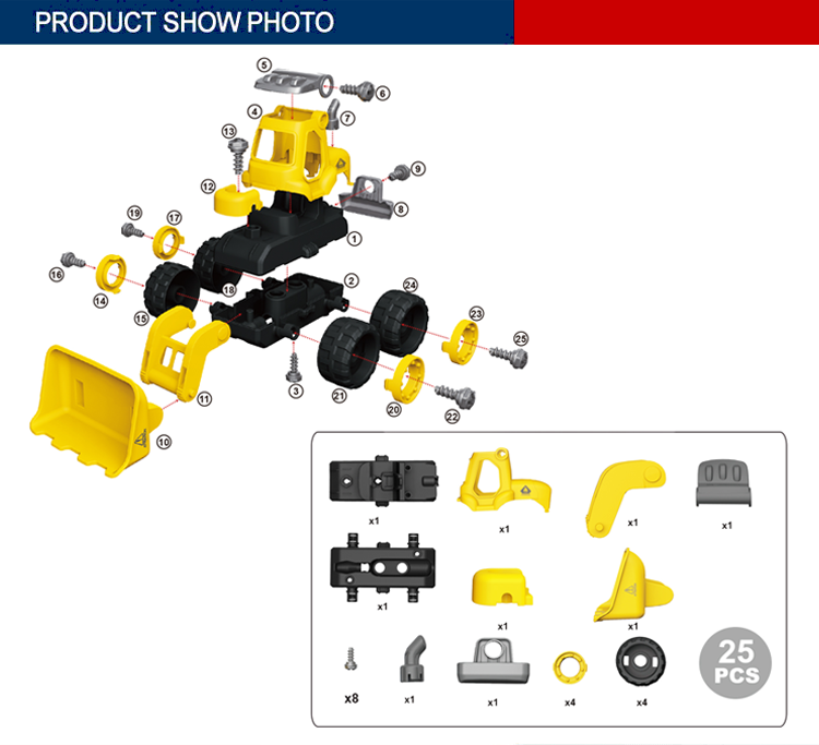 25PCS wholesale education bulldozer diy toys assemble truck car blocks