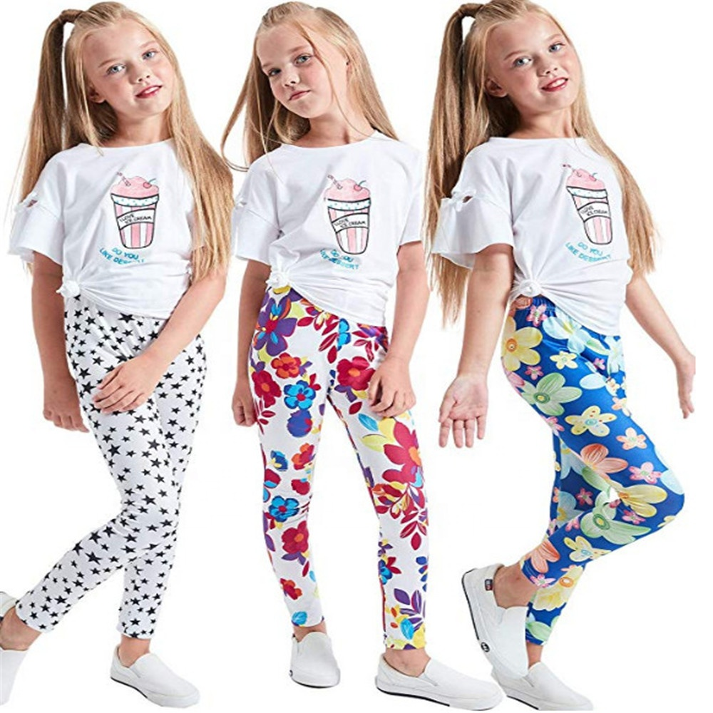Amazon Mädchen Stretch Leggings Strumpfhosen Kinder Tragen Yoga Hosen Plain Volle Länge Kinder Hosen