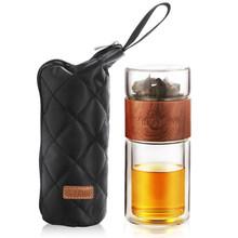 Стеклянная бутылка для воды 200 мл с пакетом, высокая двухслойная бутылка для воды для чая, инфузионный стакан, посуда для напитков, смарт-бут...(Китай)