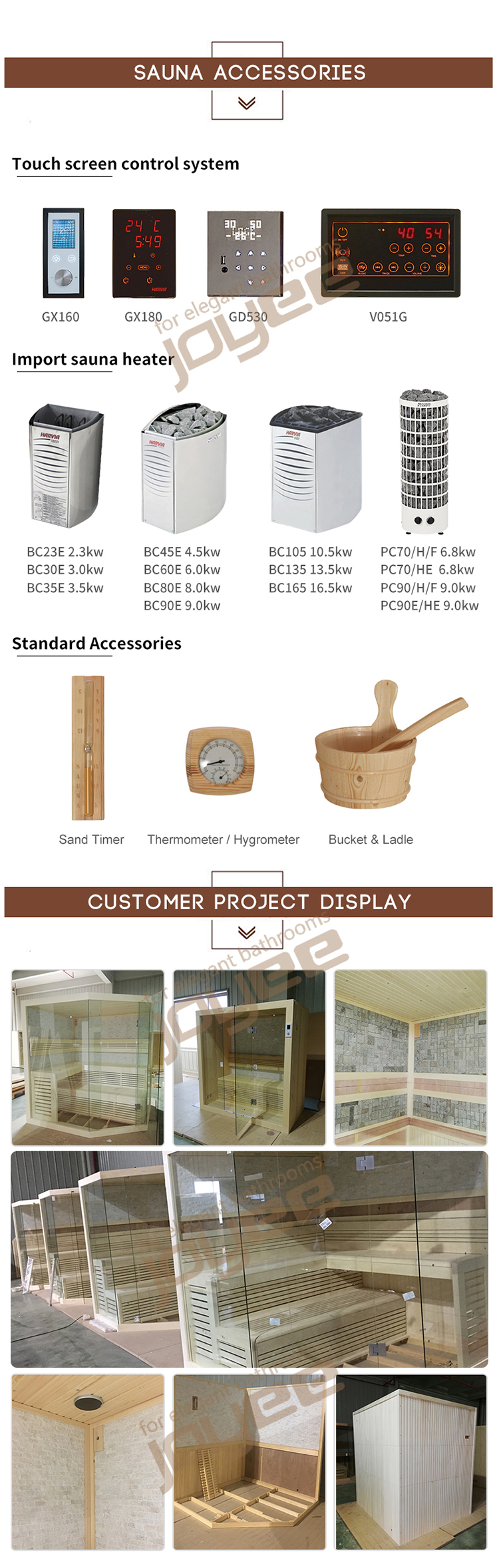 JOYEE China Manufactory sauna ladle equipment wood bucket with spoon Cheap Price