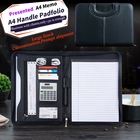 Portable A4 Leather Portfolio For Birthday Gift Promotion with Handle and Calculator