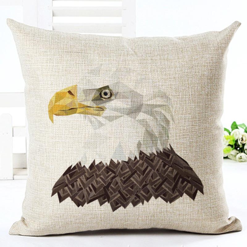 Animal Lion Owl Leopard Bald Eagle Linen Pillowcase Living Room Sofa Cushion Cover Printed Creative Cushion Cover  For Home Dec