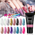 Rosalind oem private label nail art 30ml poly nail gel soak off glitter color quick builder gel polish for nail extension