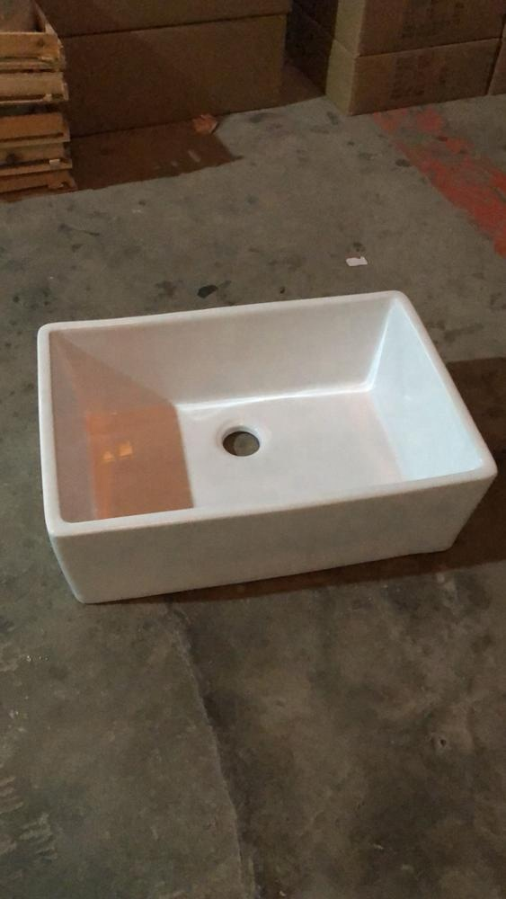 White Basin Rectangle North America Flat Apron Front Ceramic Kitchen Sink Bowl