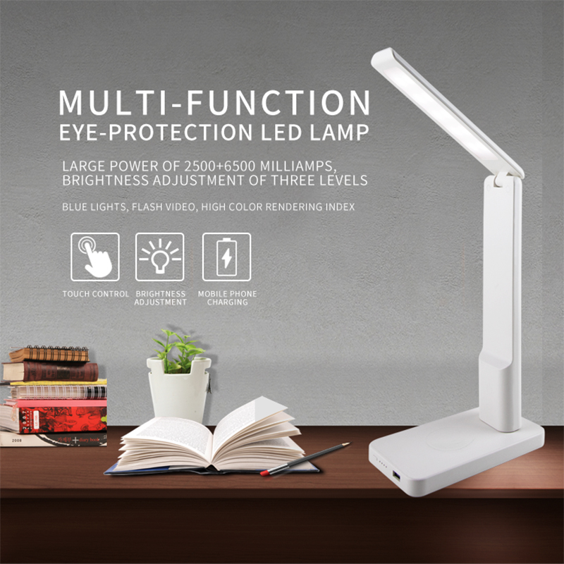 LED Table Lamp Fast Wireless Charger USB Charging Port Eye-Protection Desk Lamp