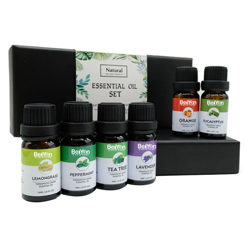 In Stock 100% Pure Essential Oils Set 6x10ml Undiluted Essential Oils for Relaxing mind Freshening Air By Aroma Diffuser