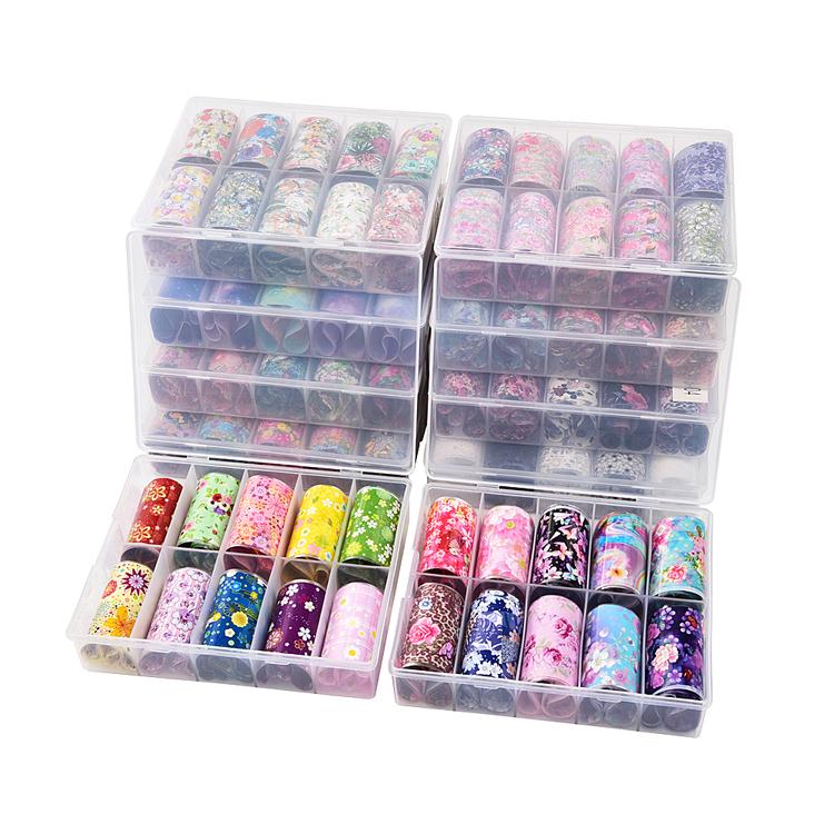 Atacado glitter adesivos de gel de unhas conjunto de flores folha decalques de arte de unhas adesivos de decoração de arte de unhas para meninas
