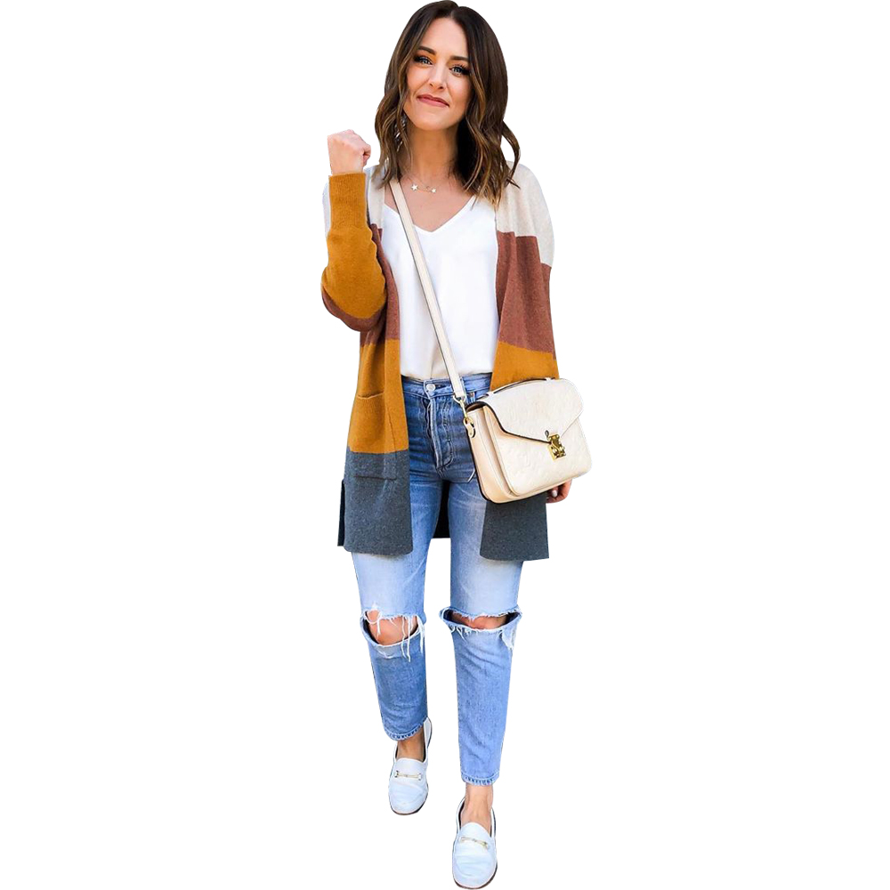 2019 lady clothing fashion long sleeve O collars mix color patchwork cardigan sweater women clothes FM-MY055