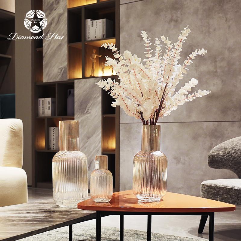 wholesale new home decorative line texture hand blown colored flower glass vase