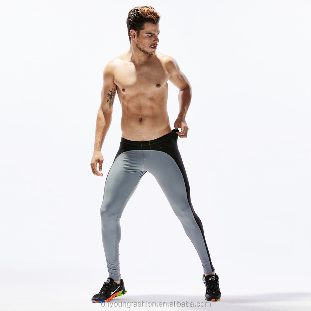 Newest fashion Men's GYM fitness Yoga pants  80%NYLON 20%Spandex Stretch Tights Pants for men sports trousers