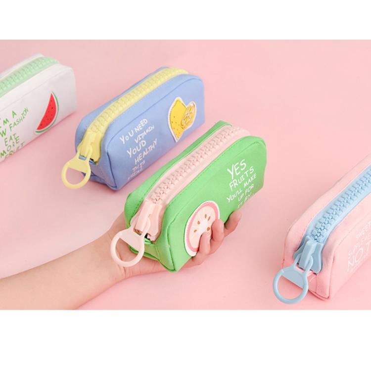 custom printed logo cotton zipper pen bags large capacity students cute canvas pencil bag for Girls