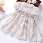 baby girls dresses smocked flower floral summer handmade cotton kids clothes children clothes ready made C3166553