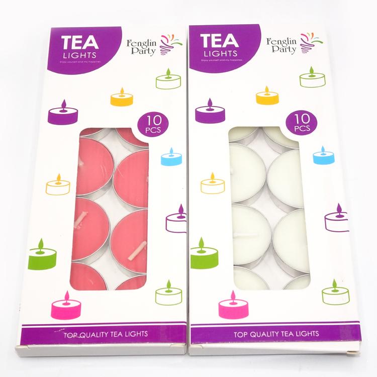 컬러 tealight 촛불 파라핀 왁스 캔들 6g 10 개/상자