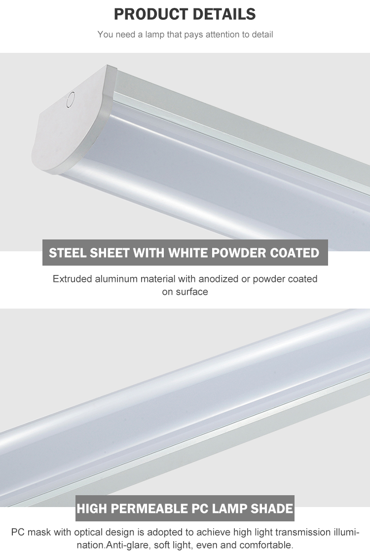 With CE Certification Wide Lamp 2ft 4ft 5ft 6ft 20w 30w 40w 60w 80w Led Tri-Proof Linear Flat Tube Light