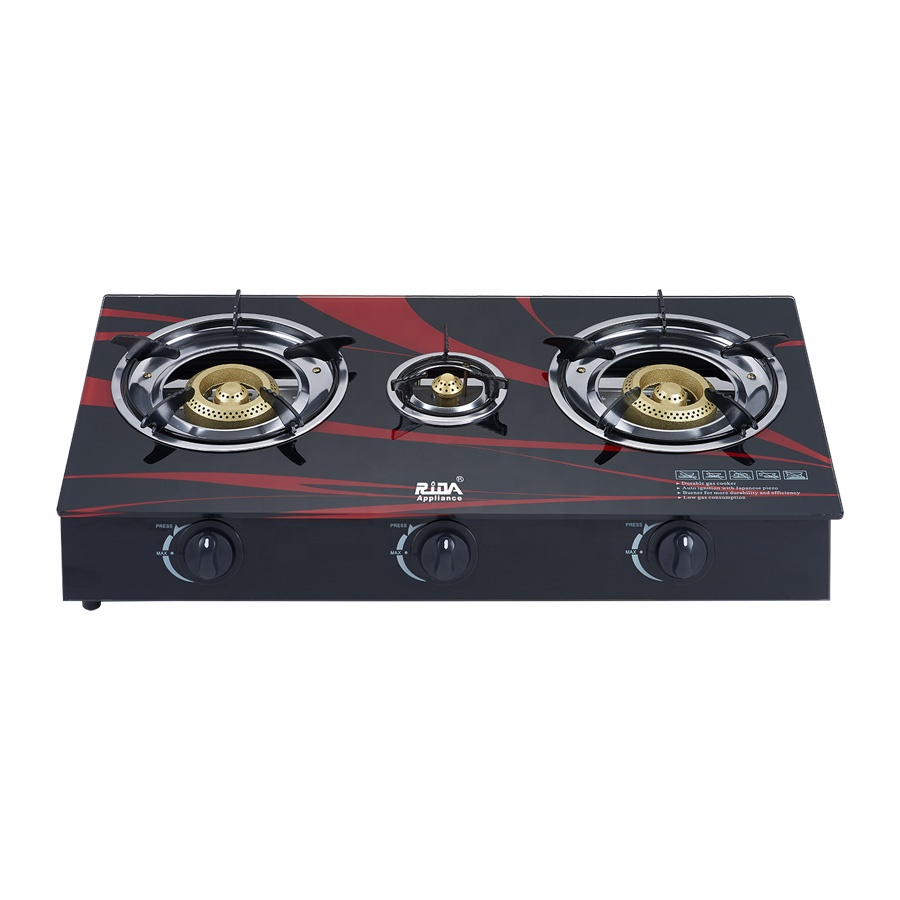 New model high power patio automatic table big 3 burners glass top gas cooker