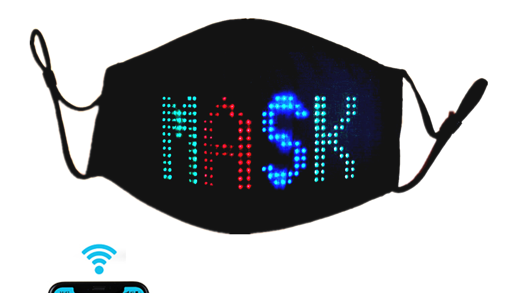 Large Screen RGB Bluetooth APP Programmable LED Display Maskes for Halloween New Year Concerts Festivals Party Masquerade