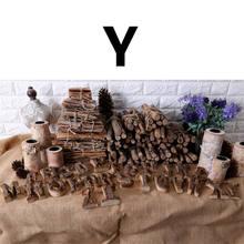 Вместе с корой твердой древесины Ретро Деревянный Английский алфавит номер винтаж DIY письмо для кафе бар украшения дома(Китай)