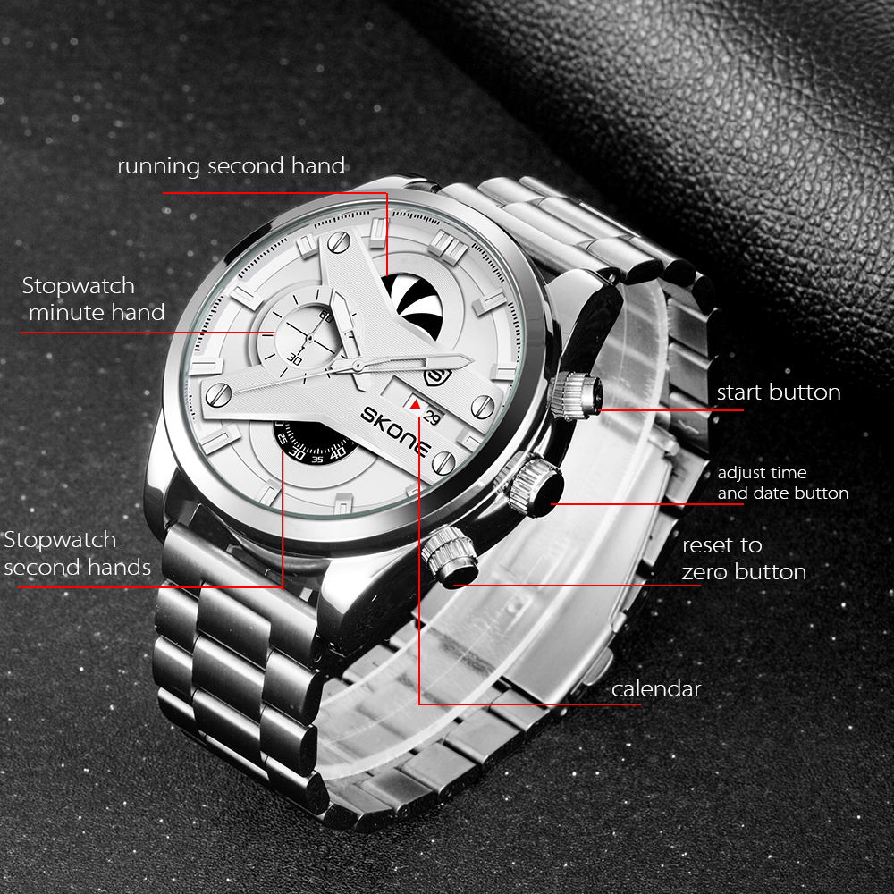2019 top chronograph watch men custom logo metal jam tangan pria