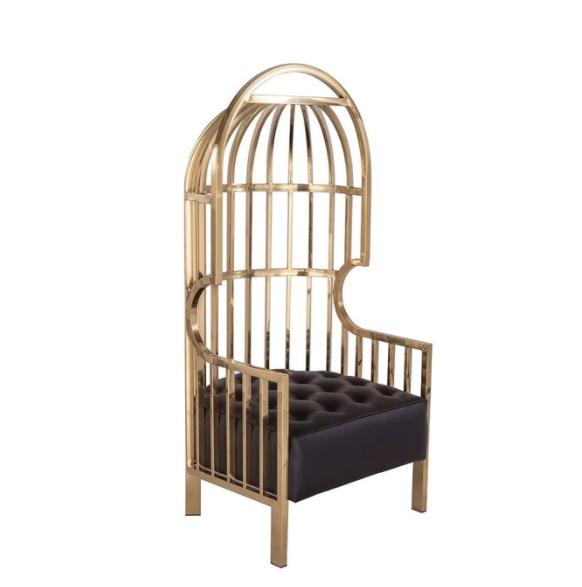 High back modern stainless steel metal brass gold finish velvet Eichholtz birdcage Bora bora Bird Cage Chair
