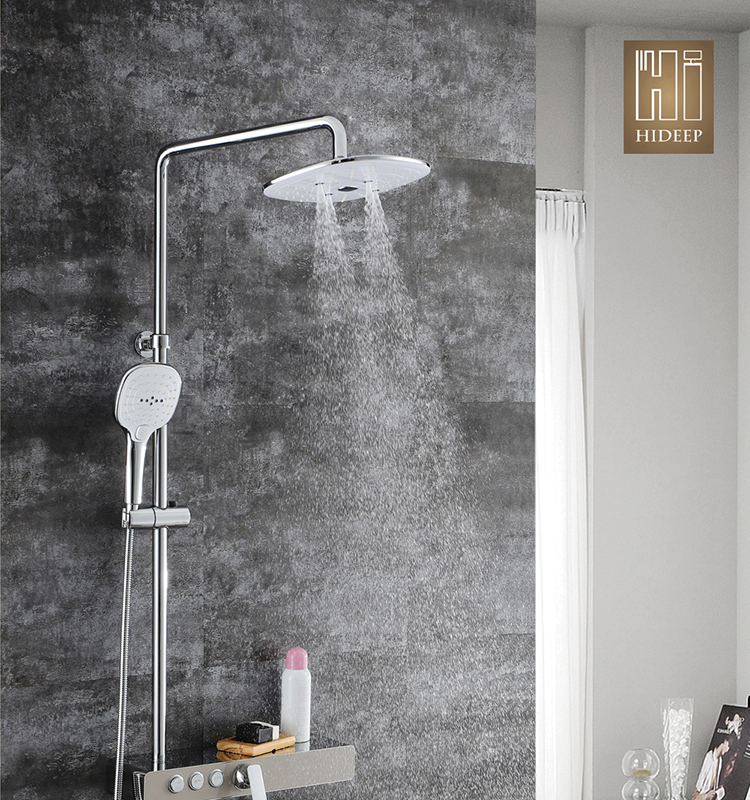 HIDEEP Modern Shower Set for Bathroom Chrome Copper Hot and Cold Shower Faucet