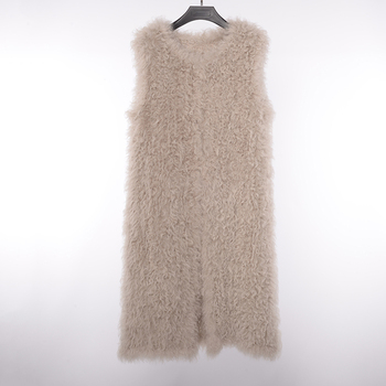 Sexy Ladies Winter Warm Eeal Mongolian Sheep Lamb Knitted Oem Fur Knit Sweater Non-Sleeve Coat Gilet Waistcoat Vest