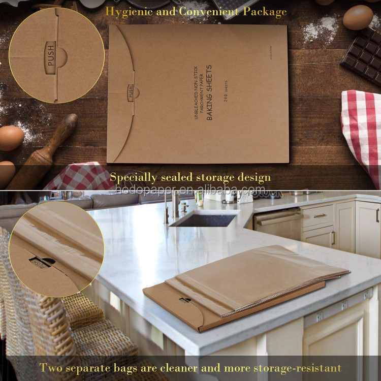 "Food Grade 12x16 inches (12"" x 16"") custom unbleached parchment paper sheets for baking 120SHEETS"