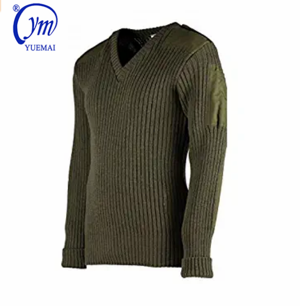 Safety elbow shoulder special design olive green sweater mens knitwear pullover