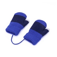 2020 YIWU factory wholesale new style knit kid double color double thickening kids gloves with lanyard