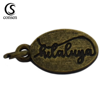 Oval shape logo tag pendant custom antique brass name engraved metal beads