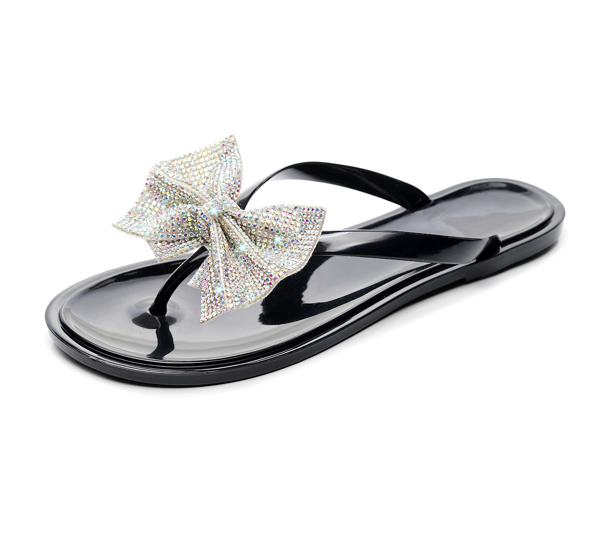 Women Leisure Bow Flip-Flops Flash Drilling Sequins Sandals Beach Flats Rain Jelly House shoes woman Flip Flops zapatos de mujer