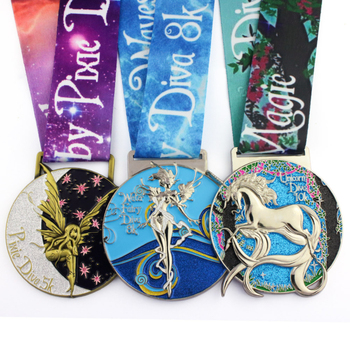 Factory price zinc alloy 3D metal award marathon running military sport medal wholesale custom silver metal medals