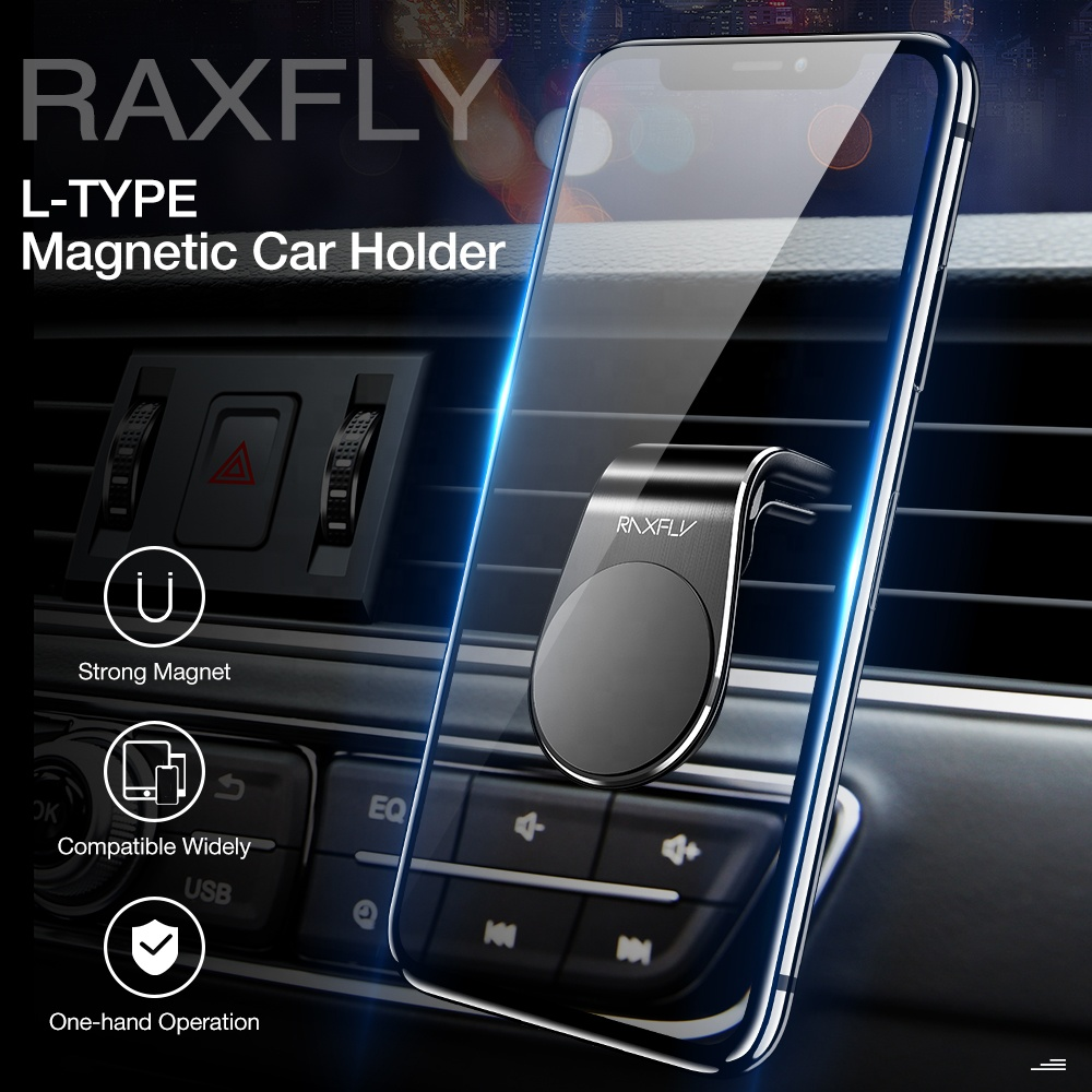 Free Shipping RAXFLY New L-Type Universal Car Mount Air Vent Clip Mobile Phone Magnetic Holder