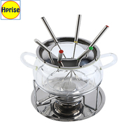 Wholesales fruit fondue stainless steel and Pyrex glass cheese chocolate fondue set