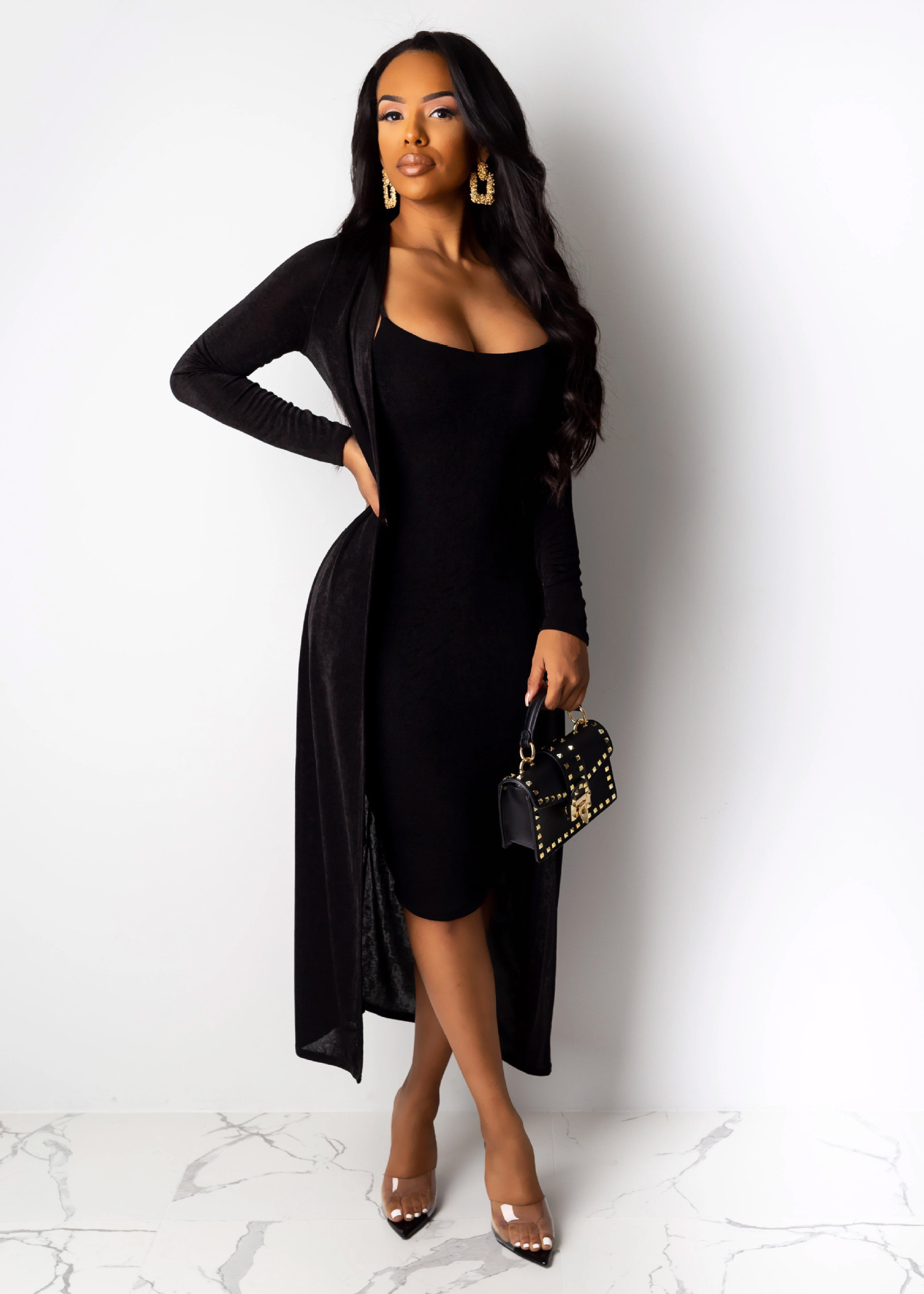 Winter Outfit Midi Dress Sets Women's Long Sleeve Two Piece Clothes Fall Fashion Style 2019