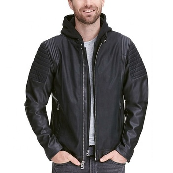 Customized Men's Bomber Leather Jacket With Removable Hoody / Sheep Leather Jacket / Moto Guy Leather Jacket
